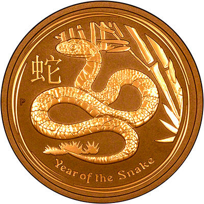 Reverse of 2013 Australian Year of the Snake One Ounce Gold Coin