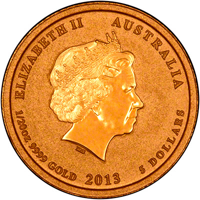 Reverse of 2013 Australian Year of the Snake Twentieth Ounce Gold Coin