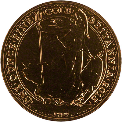Obverse of 2013 One Ounce Gold Britannia