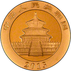 Obverse of 2013 One Ounce Gold Panda Coin