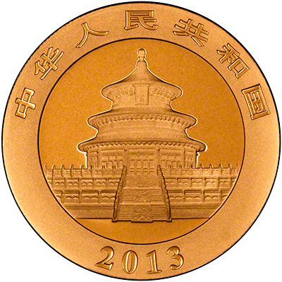 Obverse of  2013 Chinese One Ounce Gold Panda Coin
