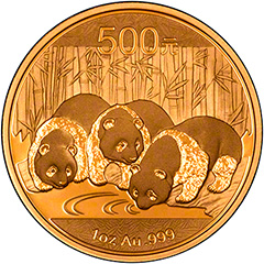 Reverse of 2013 One Ounce Gold Panda Coin