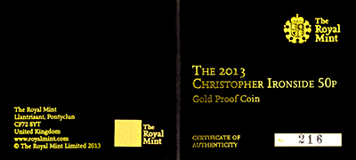 2013 100th Anniversary of the Birth of Christopher Ironside Gold Proof Fifty Pence Certificate Obverse