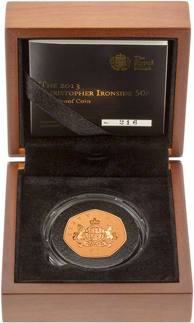2013 100th Anniversary of the Birth of Christopher Ironside Gold Proof Fifty Pence in Box