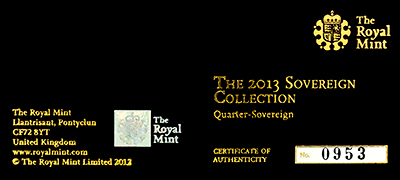 Obverse of 2013 Gold Proof Quarter Sovereign Certificate
