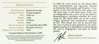 Reverse of 2013 Gold Proof Quarter Sovereign Certificate