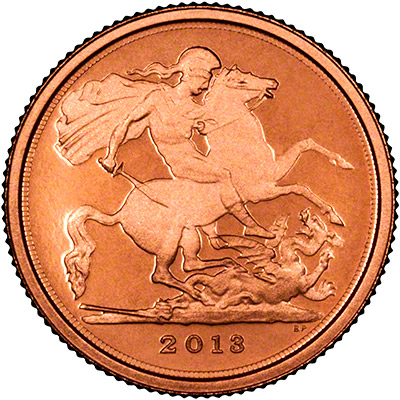 Obverse of 2012 Gold Proof Quarter Sovereign