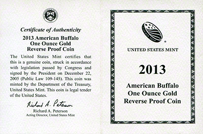 2013 US Reverse Proof Gold Buffalo Certificate Obverse