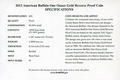2013 US Reverse Proof Gold Buffalo Certificate Reverse