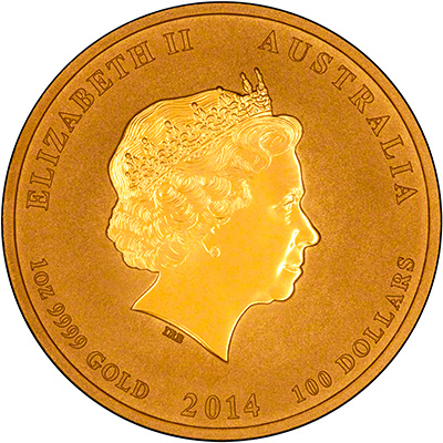 Obverse of 2014 One Ounce Gold Lunar Horse