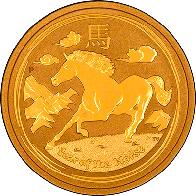 Reverse of 2014 Australian Year of the Horse One Ounce Gold Coin