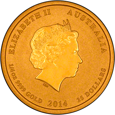 Reverse of 2014 Australian Year of the Horse Quarter Ounce Gold Coin