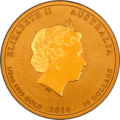 Reverse of 2014 Australian Year of the Horse Half Ounce Gold Coin