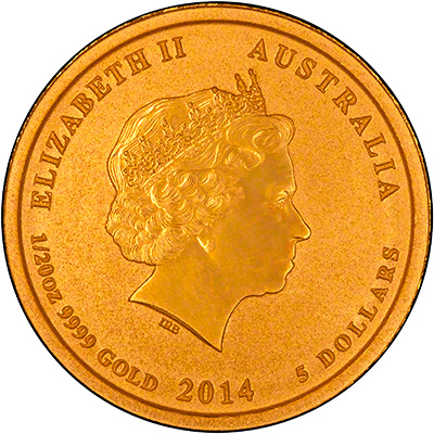 Reverse of 2014 Australian Year of the Horse Twentieth Ounce Gold Coin