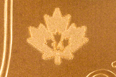 2014 Canadian One Ounce Gold Maple Micro Engraved Security Privy Mark