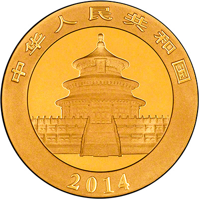 Obverse of 2014 Chinese One Ounce Gold Panda Coin