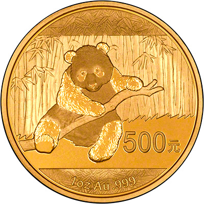 Reverse of 2014 Chinese One Ounce Gold Panda