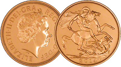 2014 Brilliant Uncirculated Double Sovereign Obverse & Reverse Overlay