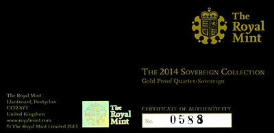 Obverse of 2014 Gold Proof Quarter Sovereign Certificate