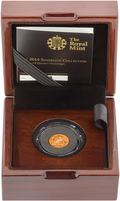 2014 Gold Proof Quarter Sovereign in Presentation Box