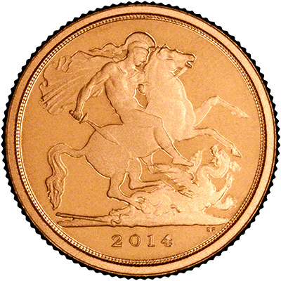 Obverse of 2014 Gold Proof Quarter Sovereign