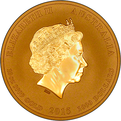 Obverse of 2015 Australian Year of the Goat Ten Ounce Gold Coin