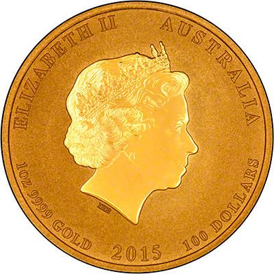 Obverse of 2015 One Ounce Gold Lunar Goat