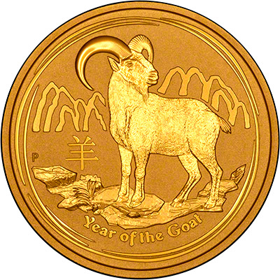 Reverse of 2015 Australian Year of the Goat One Ounce Gold Coin