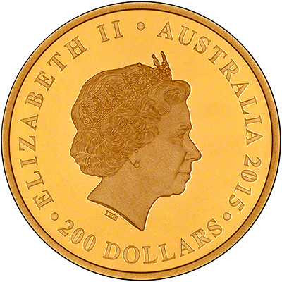 Australian Longest Reigning Monarch Gold Proof Two Ounce Coin Obverse