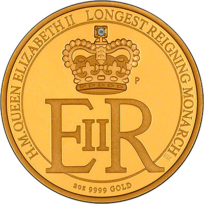 Australian Longest Reigning Monarch Gold Proof Two Ounce Coin Reverse