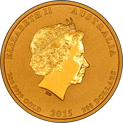 Obverse of 2015 Australian Year of the Goat Two Ounce Gold Coin