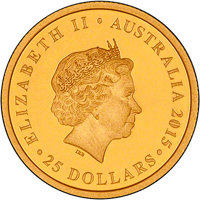 Obverse of 2015 Australian Longest Reigning Monarch Gold Proof Quarter Ounce Coin