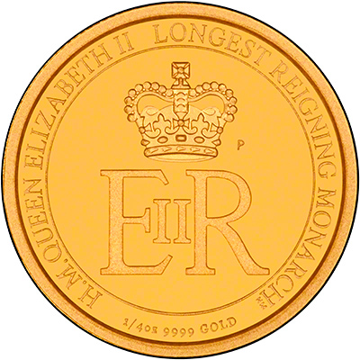 Reverse of 2015 Australian Longest Reigning Monarch Gold Proof Quarter Ounce Coin