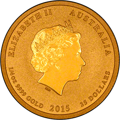 Obverse of 2015 Australian Year of the Goat Quarter Ounce Gold Coin