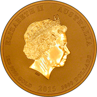 Obverse of 2015 Australian Year of the Goat One Kilo Gold Coin