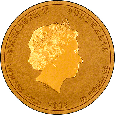 Obverse of 2015 Australian Year of the Goat Half Ounce Gold Coin