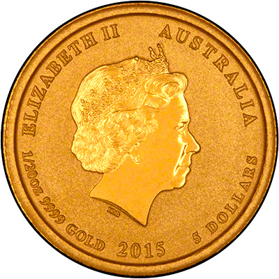 Obverse of 2015 Australian Year of the Goat Twentieth Ounce Gold Coin