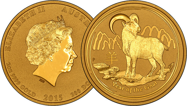 2015 Australian Year of the Goat One Ounce Gold Coin Overlay