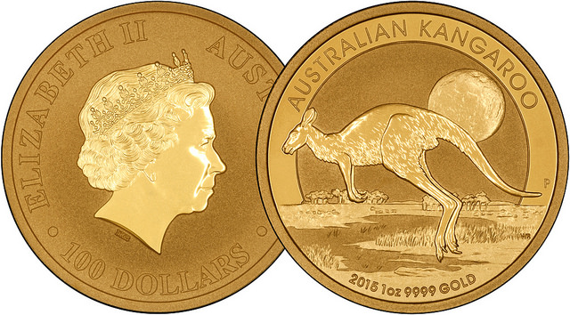 2015 Australia One Ounce Gold Nugget Overlay
