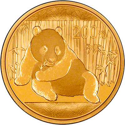 Reverse of 2015 Chinese Half Ounce Gold Panda Coin