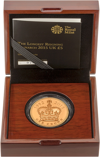 2015 Royal Mint Gold Proof Longest Reigning Monarch Five Pound Crown