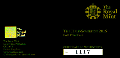 2015 Half Proof Sovereign Certificate Obverse