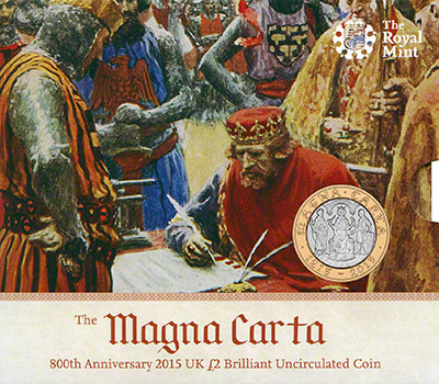 22015 800th Anniversary of the Magna Carta Brilliant Uncirculated Two Pound Coin in Folder
