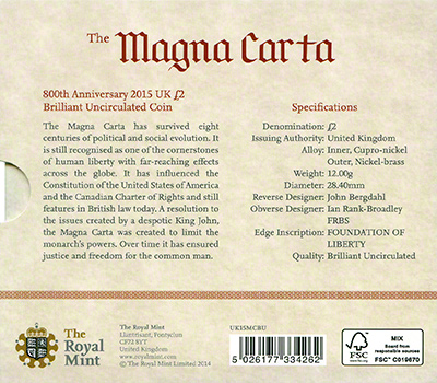 2015 800th Anniversary of the Magna Carta Brilliant Uncirculated Two Pound Coin in Folder