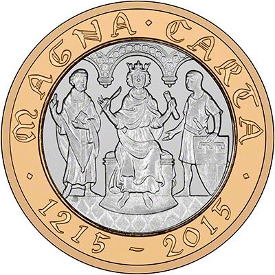 Reverse of 2015 800th Anniversary of the Magna Carta Brilliant Uncirculated Two Pound Coin