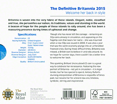 2015 Definitive Britannia Brilliant Uncirculated Two Pound Coin in Presentation Folder