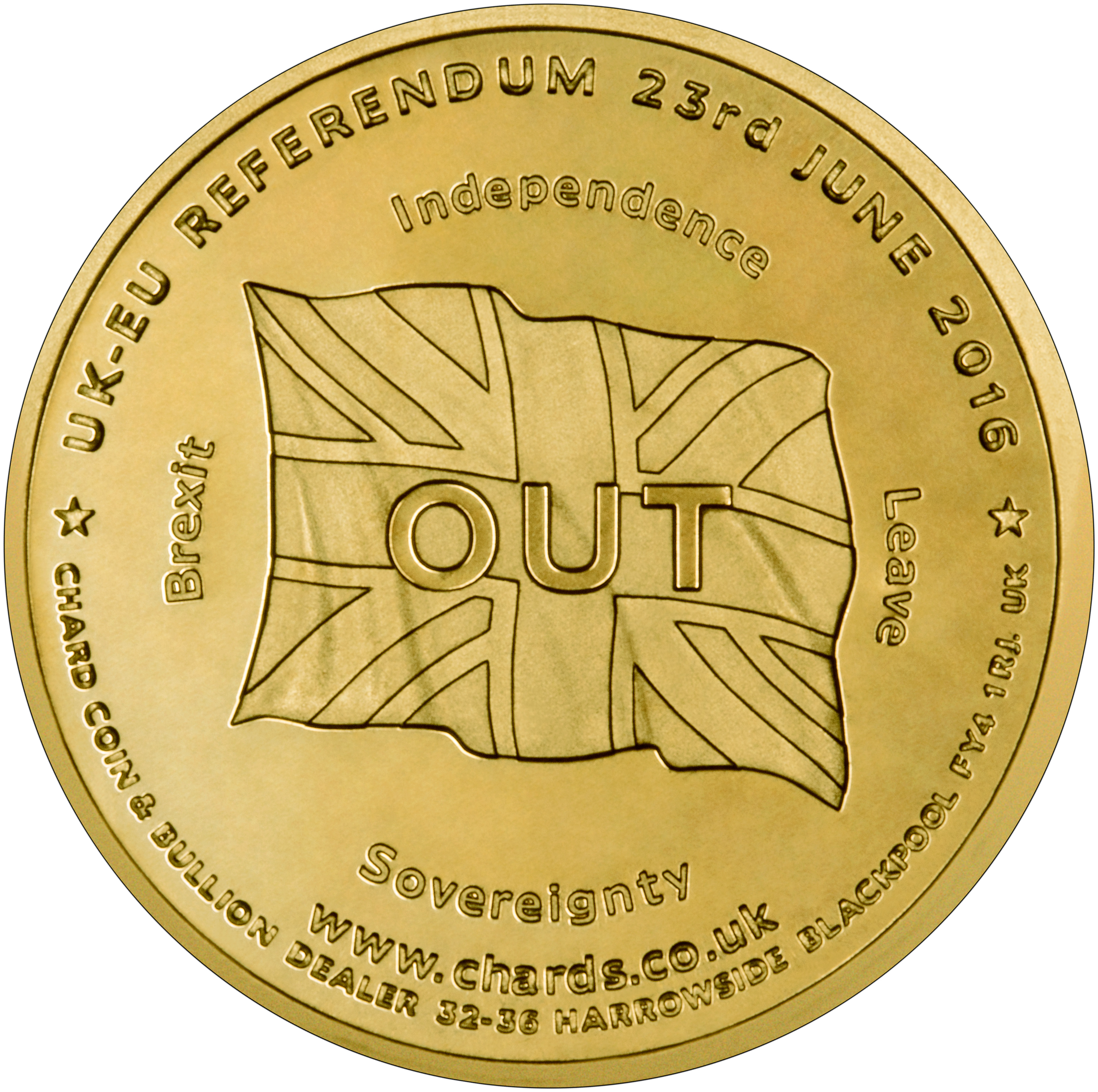 2016 In Out UK EU Referedum Medallion Reverse