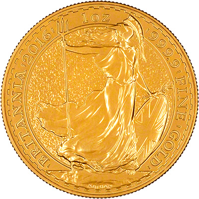 Reverse of 2016 One Ounce Gold Britannia
