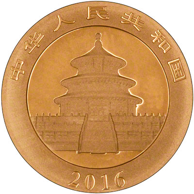 Obverse of 2016 Chinese 30 Gram Gold Panda Coin