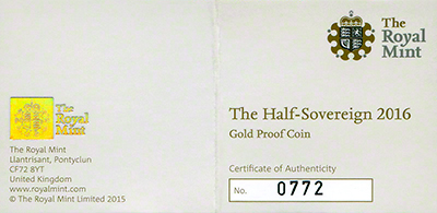 2016 Half Proof Sovereign Certificate Obverse